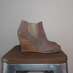 Audrey Brooke Wedge Ankle Bootie Cindy Leather